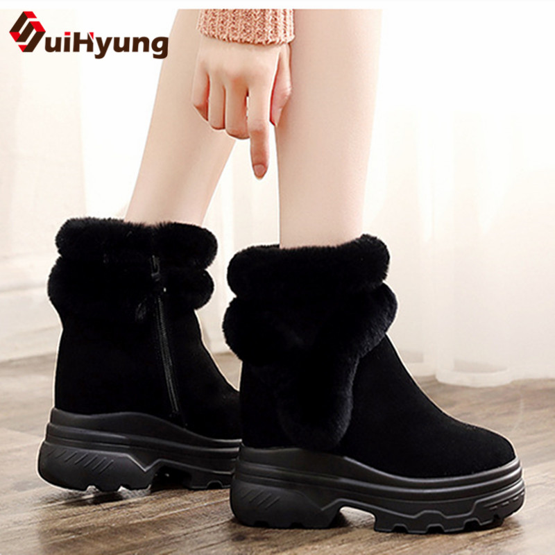 Suihyung Real Fur Snow Boots 2018 New Women Suede Ankle Boots Warm Fleece Lining Rabbit Hair Winter Cotton Shoes Female Botas цена