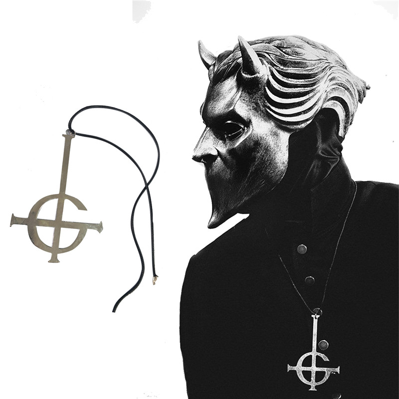 Ghost Nameless Ghouls Necklace Cosplay Ghost B.C Rock Roll Band Costume Accessory Grucifix Papa Emeritus Patch Necklaces Jewelry