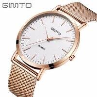 GIMTO Fashion Men Watches Top Brand Luxury Stainless Steel Quartz Gold Men Wrist Watch Male Clock