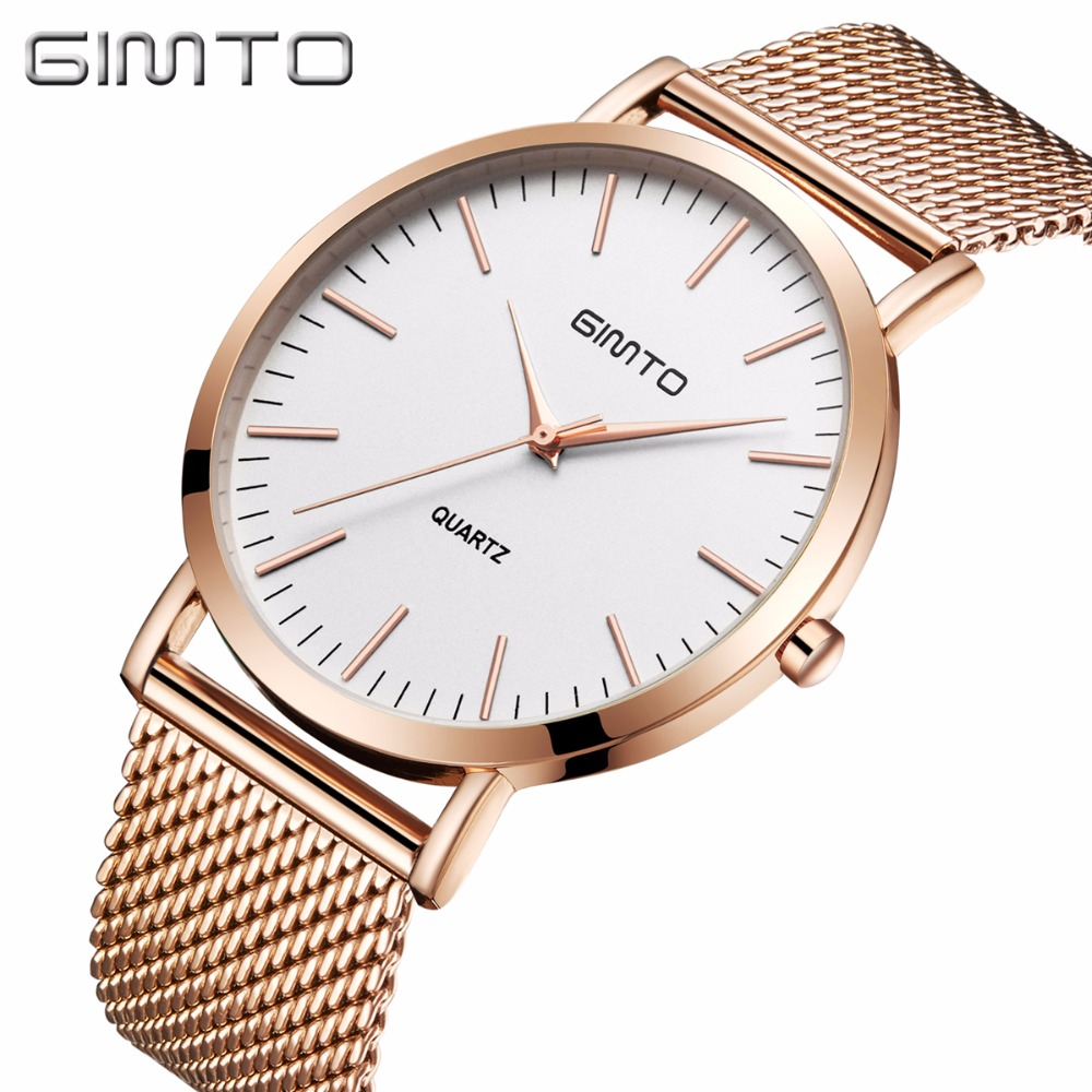 GIMTO Fashion Men Watches Top Brand Luxury Stainless Steel Quartz Gold Men Wrist Watch Male Clock Relogio Masculino SAAT ybotti luxury brand men stainless steel gold watch men s quartz clock man sports fashion dress wrist watches relogio masculino