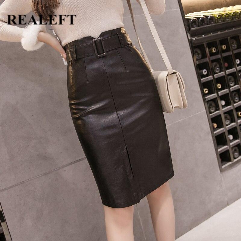 REALEFT Autumn Winter OL Elegant Pencil Midi Skirts High Waist Black PU Leather Split Sheath Wrap Skirts With Belt Female 2019
