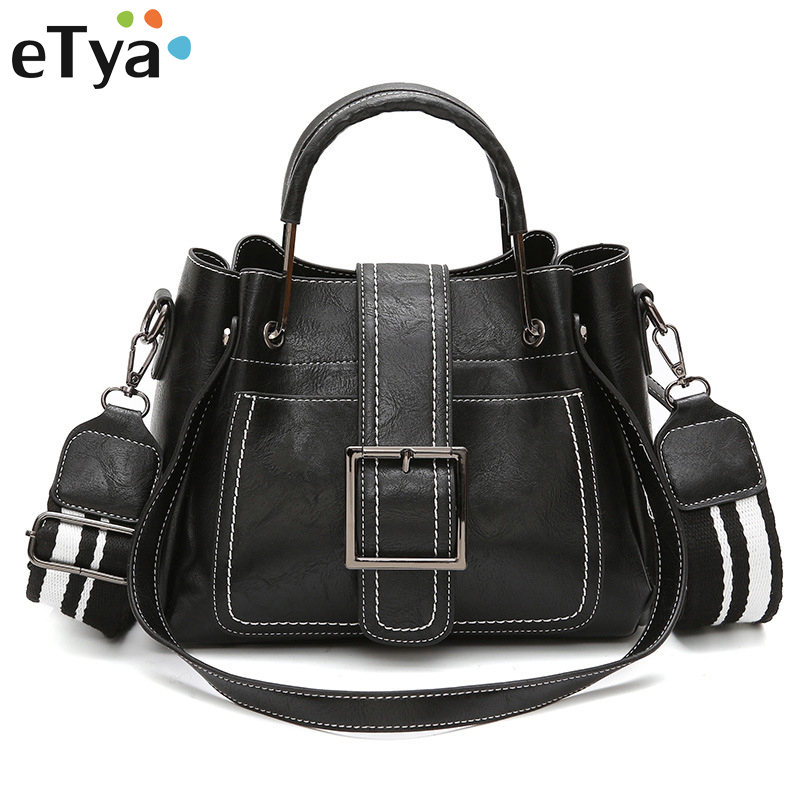 eTya Brand Women Messenger Bags Vintage Belts Shoulder Bags Fashion Women Handbags High Quality PU Leather Ladies Hand Bags