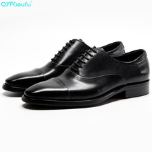 New Genuine Cow Leather Business Shoes Men Fashion Dress Shoes Oxfords Black Red Wine Lace-up Classic Formal Shoes pjcmg fashion black red wine lace up pointed toe striped decoration genuine leather business formal casual oxfords shoes for man