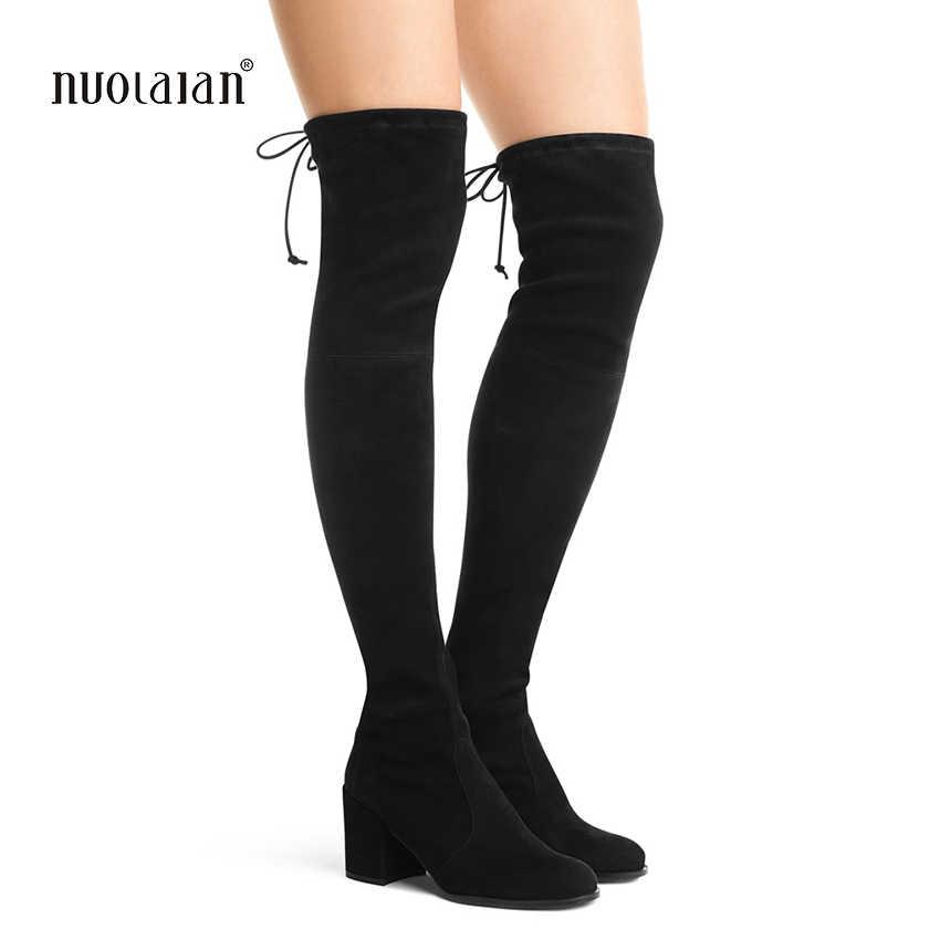 Frauen oberschenkel hohe stiefel overknee high heels stiefel pelz warnen winter und herbst frau schuhe botas mujer femininas