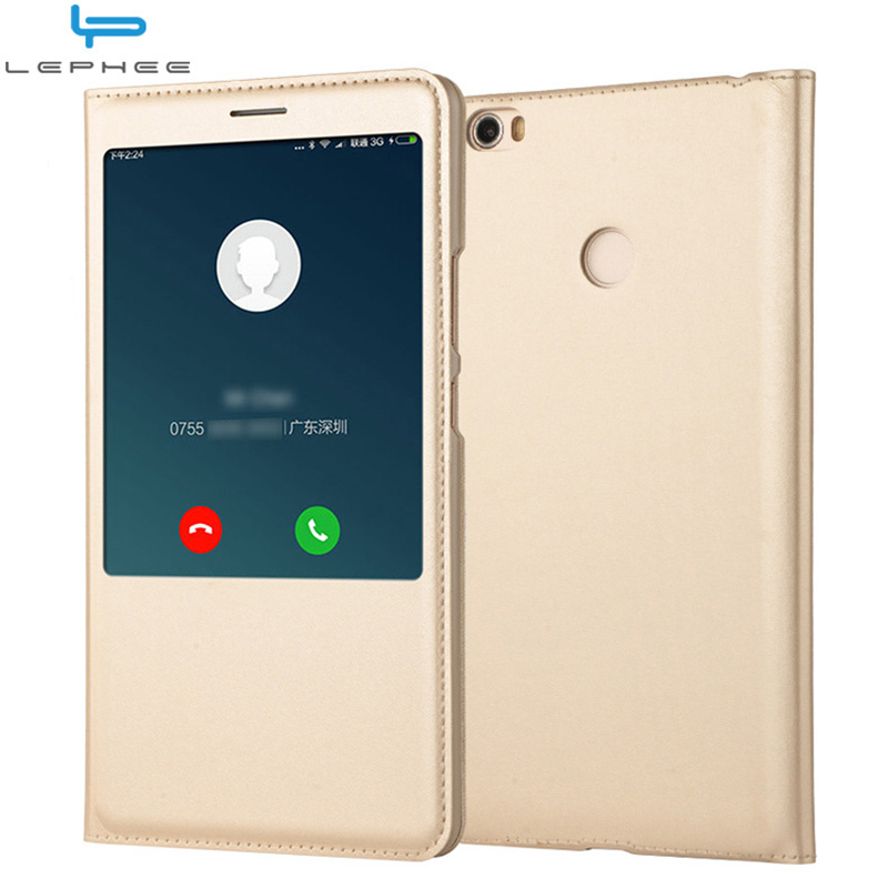 outlet store 69176 111fb LEPHEE For Xiaomi Mi Max 3 Case For Xiaomi Mi Max 2 Flip Cover Cases Window  Luxury Leather Case Xiomi Max 2 3 Hard Armor Cover