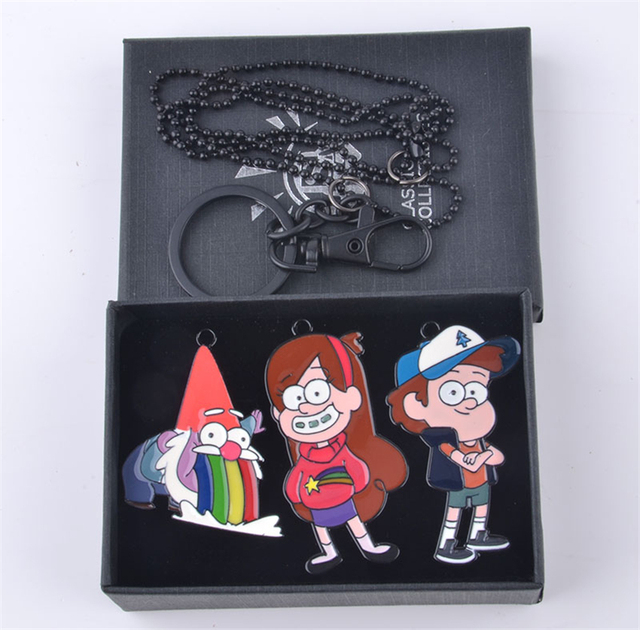 Us 9 99 Anime Gravity Falls Alloy Metal Mabel Pines Dipper Pines Bill Cipher Necklace Keychain With Box Cosplay Custume Accessories In Boys Costume