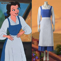 Princess Belle Blue Dress Anime Beauty and the Beast Maid Cosplay Costume Fancy Suit Halloween Carnival Clothes Adult Women