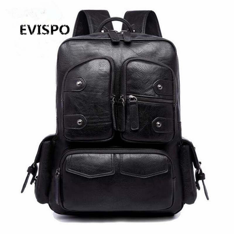Hot 2016 New Brand Designer Fashion Black Leather Women Backpacks Preppy Style School Bag for Men