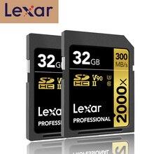 Promoção!! Lexar cartão de memória, cartão sd 32gb sdhc u3 classe 10 2000x UHS II cartões 300 mb/s de alta velocidade flash de cartão de memória para câmera de vídeo 3d 4k