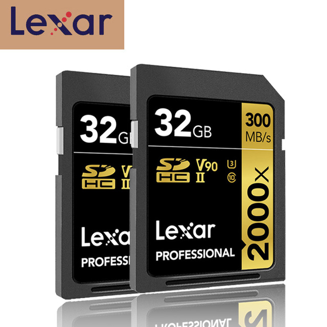 Promotion!!! Lexar SD Card 32GB SDHC U3 Class 10 2000X UHS II cards 300MB/s High Speed Flash Memory card For 3D 4K video Camera