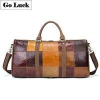 Новая Большая Дорожная сумка из натуральной кожи, унисекс (для мужчин и женщин), сумка через плечо, сумка мессенджер, Лоскутная сумка