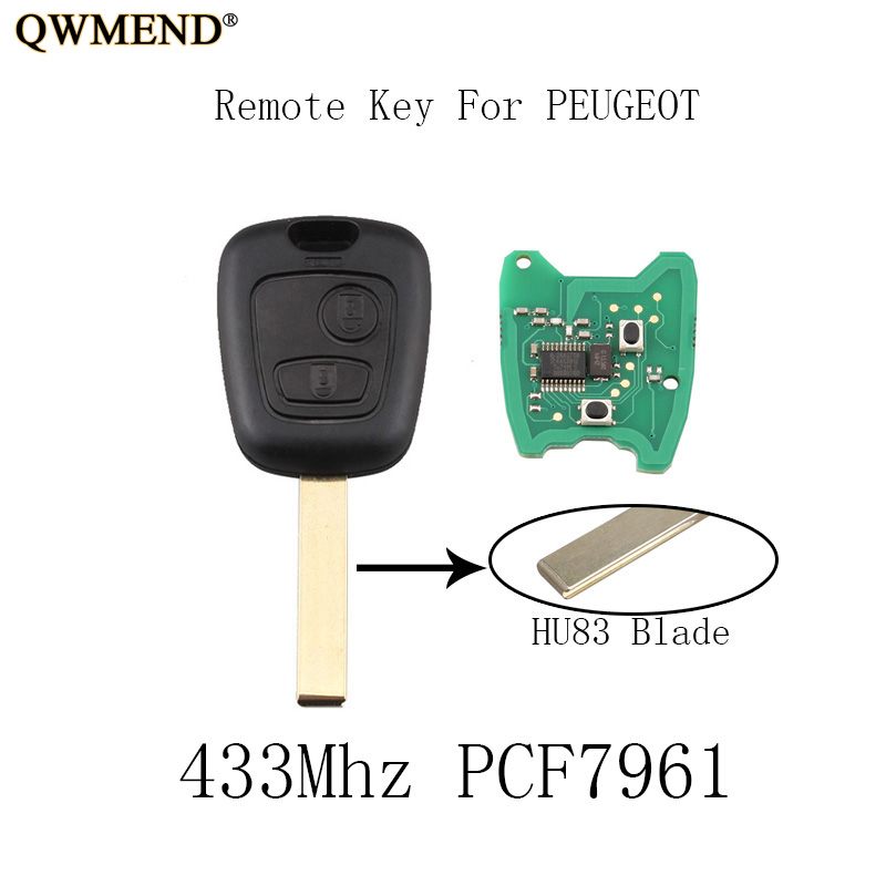 QWMEND 5pcs 2Buttons 433Mhz Remote Key DIY For PEUGEOT 307 Complete Vehicle Key PCF7961 chip HU83