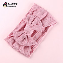 1pcs Wide Stretch Headbands Big Bow Headband Cap Knit Fabric Turban For Girls Kids Hairband Headwraps Children Hair Accessories(China)