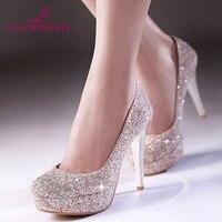 Блестящие женские весенние туфли под платье свадебные модельные туфли на шпильках бело-золотистого цвета превосходные туфли для ночных кл...