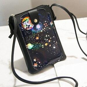 2019 النساء حقائب كتف 3D الكرتون طباعة محفظة الهاتف حقيبة السيدات البسيطة حقيبة كتف محفظة نسائية للعملات المعدنية عبر حقيبة كتف ل النسائي