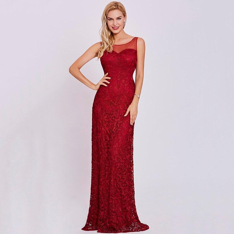 Tanpell scoop nacke klänning burgundy ärmlös mantel golv längd - Särskilda tillfällen klänningar - Foto 6