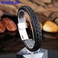Trustylan preto genuine pulseira de couro dos homens nova moda de aço inoxidável homens jóias de rock robusto dos homens de couro pulseiras envoltório