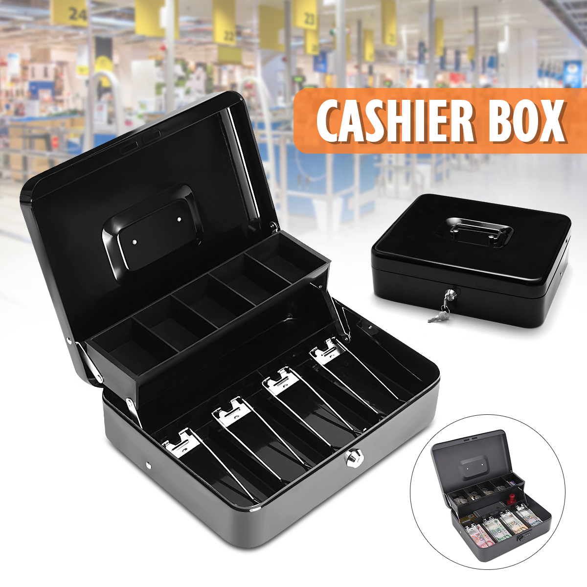 Black Metallic Iron Cash Money Box Drawer With Key Locking Safe Lock Tiered Tray Storage For Security Home Office Container ToolBlack Metallic Iron Cash Money Box Drawer With Key Locking Safe Lock Tiered Tray Storage For Security Home Office Container Tool