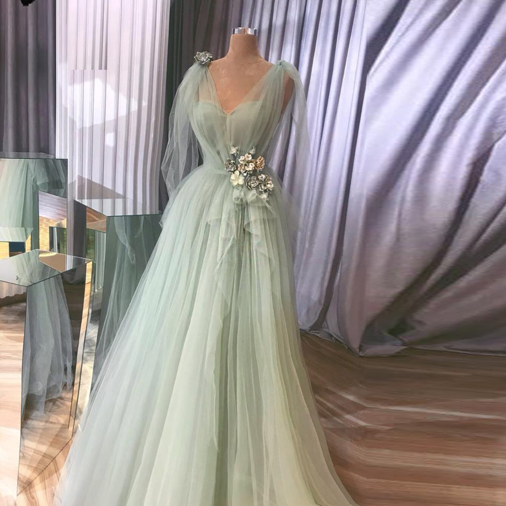 Decent Evening Dress With Flower Decorations V Neck Mint Green Tulle Vestidos De Festa A Line Evening Dresses Formal Gown