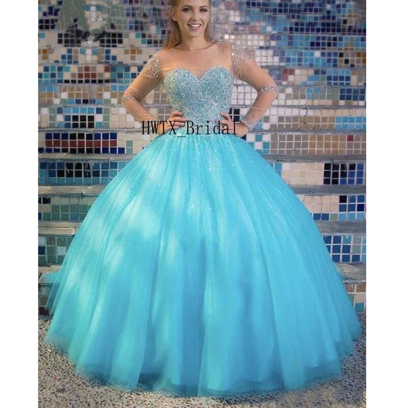 Cristal de luxe robe de bal Quinceanera robes transparent à manches longues Corset bleu rose Tulle 2019 doux 16 robes de bal Vestidos de 15