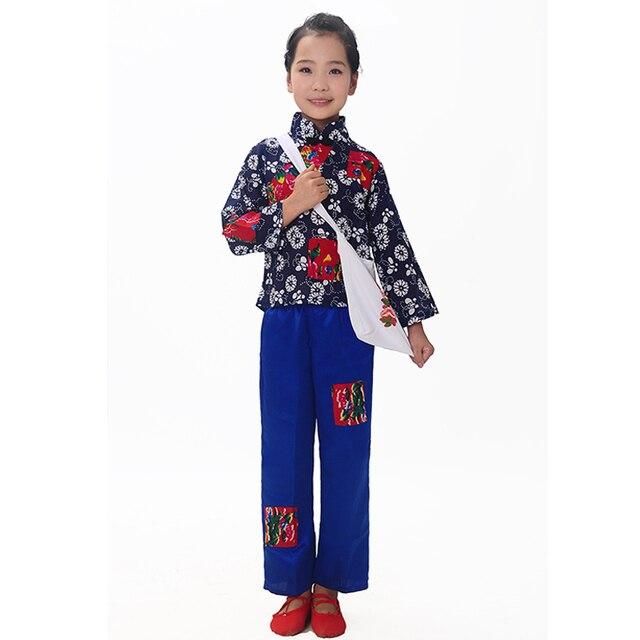 Традиционная китайская лотос стиль одежды костюмы газетчик дети танцуют одежда восточный танец костюм для девочки