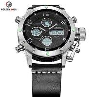 Luxury Brand Waterproof Leather Quartz Analog Watch Men Digital LED Army Military Sport Wristwatch Male Clock relogio masculino 1