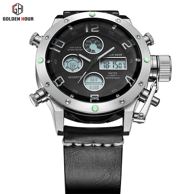 Luxury Brand Waterproof Leather Quartz Analog Watch Men Digital LED Army Military Sport Wristwatch Male Clock relogio masculino 1