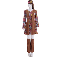 Women 70s Hippie Style Costume Hippy Outfit For Girls