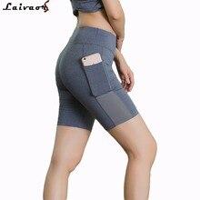 White Shorts Women Mesh Breathable Running Spandex Fabric Compression Yoga Skinny Sweat Fitness Pocket Short Pants