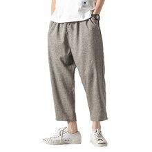 Мужские льняные широкие брюки, мужские хлопковые штаны-шаровары в стиле хип-хоп, мужские повседневные свободные брюки на завязках, черные M-5XL