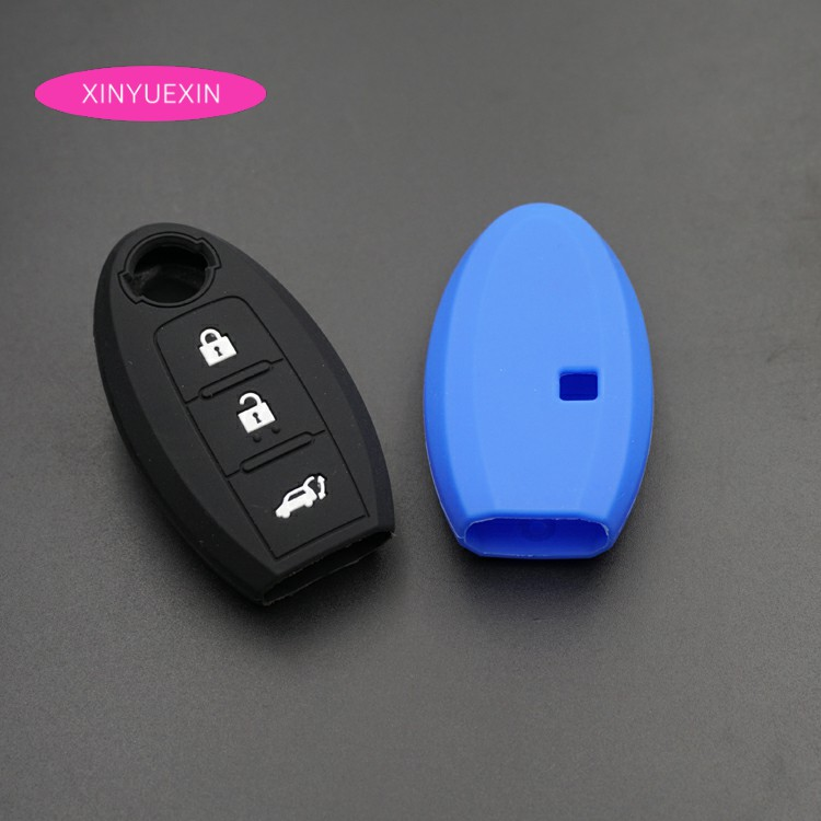 Xinyuexin Silicone Rubber Car Key Cover FOB Case For Nissan Qashqai Skyline Juke Alissa X-trail Keyless Smart Key Car-styLing