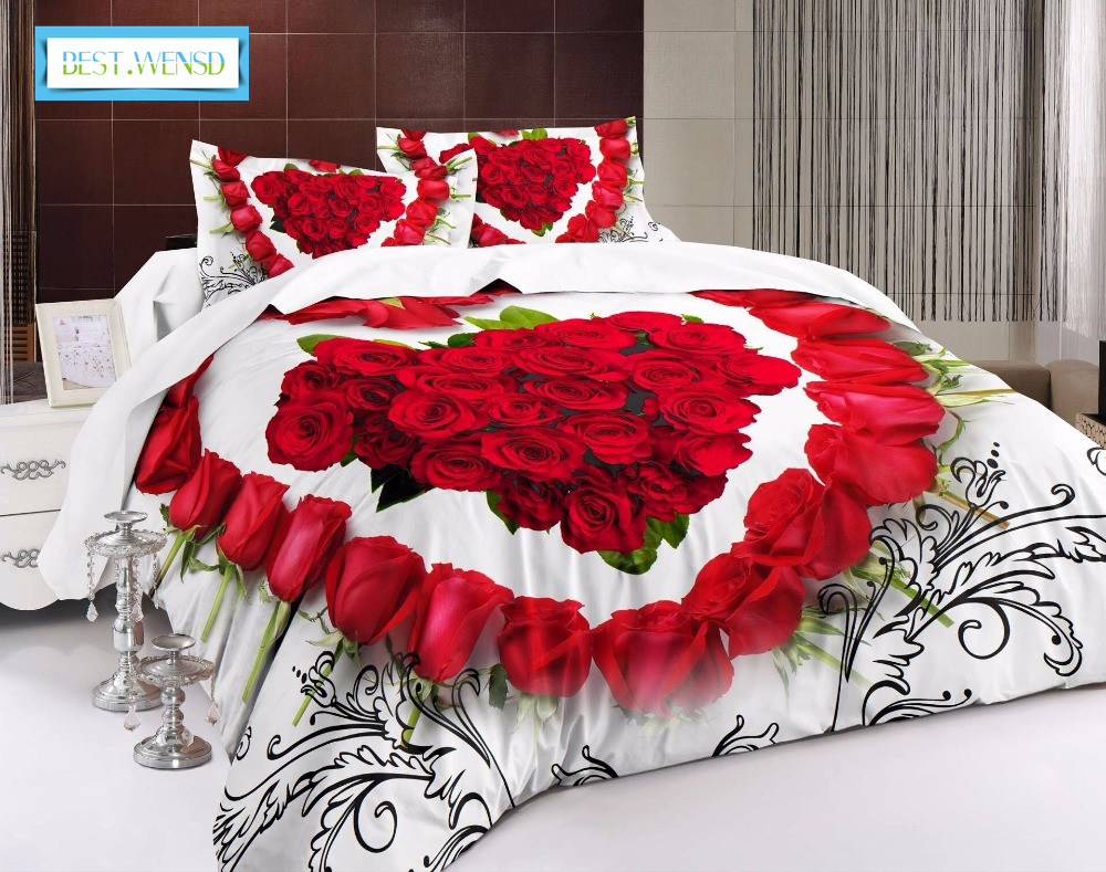 BEST.WENSD Quality Luxury Bedding Set Comfortable Jacquard Bed Linen 3d Rose Home Textiles Wedding Duvet Cover Dekbedovertrek