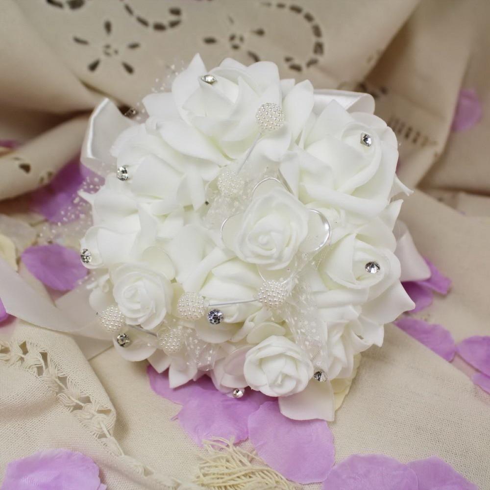 2016 New White Fashion Wedding Bouquets With Rhinestone Ribbon
