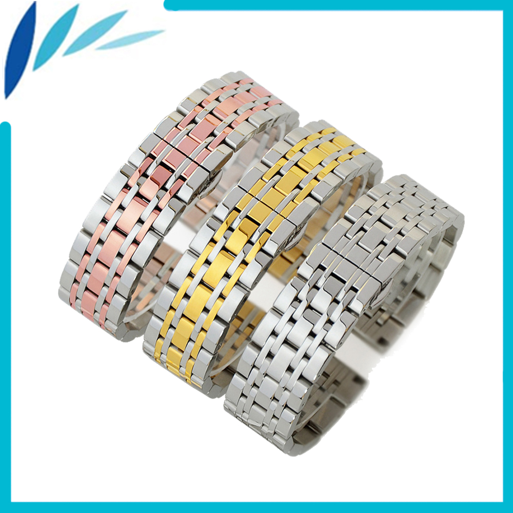 Stainless Steel Watch Band 18mm 19mm 20mm 21mm 22mm Universal Watchband Butterfly Clasp Strap Wrist Loop Belt Bracelet Silver 18mm 20mm 22mm genuine leather bracelet watchband with stainless steel clasp handmade watch strap accessories 19 kinds colors