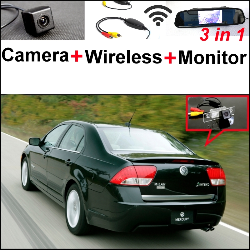 Wireless Receiver + Mirror Monitor  EASY DIY Backup Parking System For Mercury Milan / Sable 3 in1 Special Rear View Camera wireless pager system 433 92mhz wireless restaurant table buzzer with monitor and watch receiver 3 display 42 call button