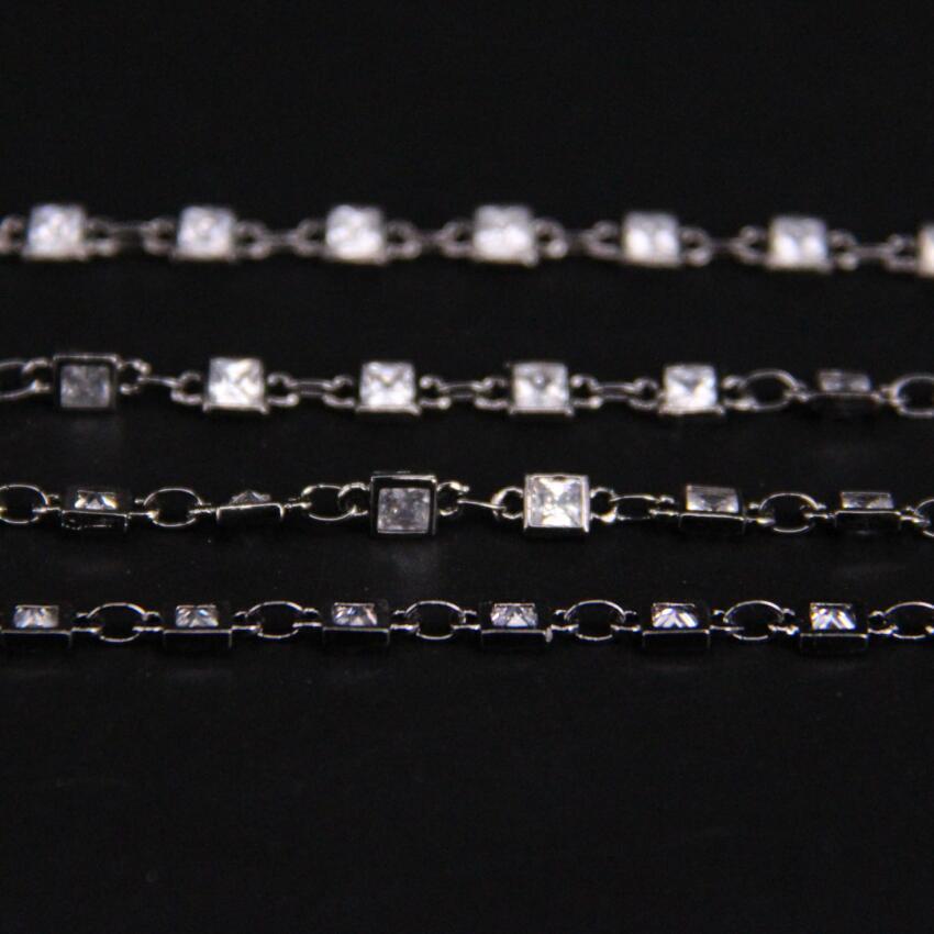 3mm, facetté carré Zircon lien métal chaîne noire, blanc cubique Zircon cristal lunette connecteur chapelet chaîne, CZ pistolet noir boucles d'oreilles - 5
