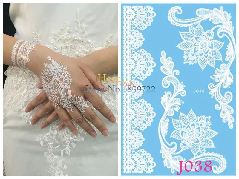 Us 0 71 10 Off 1 Pc Indian Henna Tatouage Taty Wristhand Putih Palsu Tahan Air Seni Tubuh Lukisan Tato Pasta Untuk Wanita Pernikahan Renda Bunga