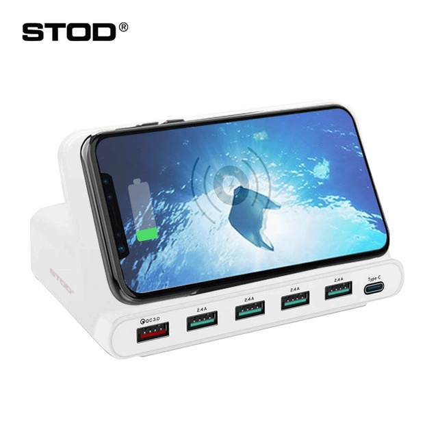 STOD Multi USB Port Wireless Charger 60W Charging Station Quick Charge 3.0 Holder For iPhone X Samsung Huawei Nexus Mi Adapter