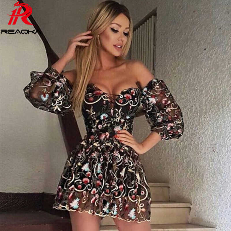 Sexy Women Mesh Embroidery Summer Dress Strapless 2018 Beach Womens  Bandages Sundress Luxury Sequins Mini Party ea4e66321002