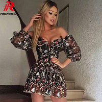 Sexy Women Mesh Embroidery Summer Dress Strapless 2018 Beach Womens Bandages Sundress Luxury Sequins Mini Party Dresses Vestidos
