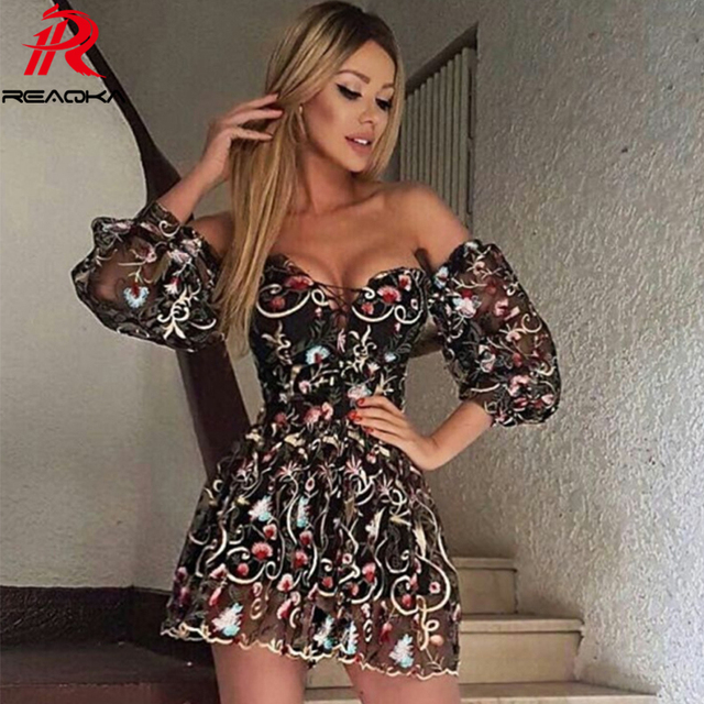 431e818b2631 Sexy Women Mesh Embroidery Summer Dress Strapless 2018 Beach Womens  Bandages Sundress Luxury Sequins Mini Party Dresses Vestidos
