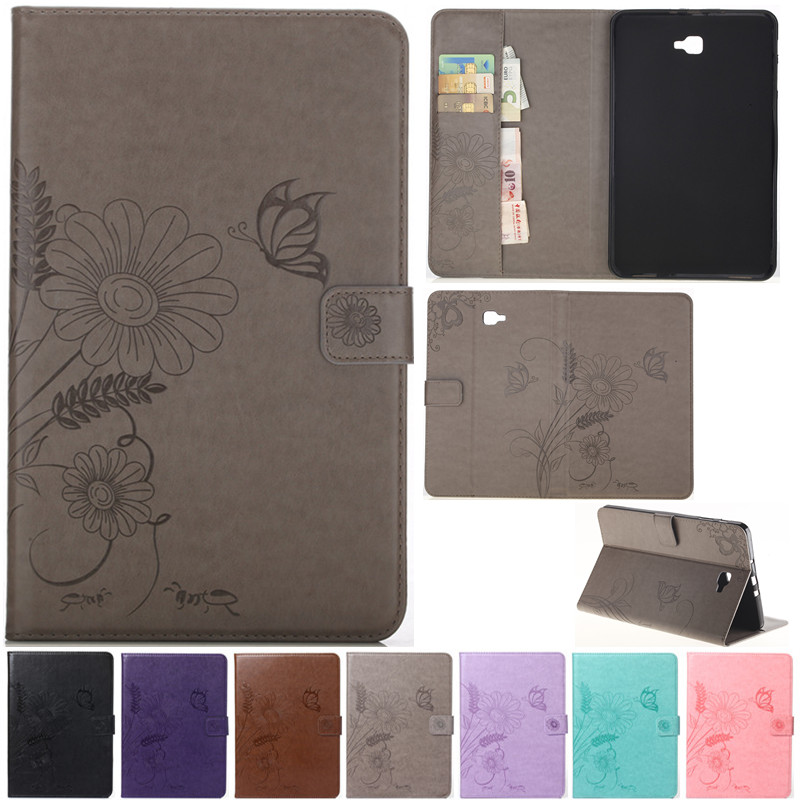 Cute Cartoon Flower Butterfly Leather Flip Fundas Case For Coque Samsung Galaxy Tab A A6 10.1 2016 T585 T580 T580N Tablet Cover
