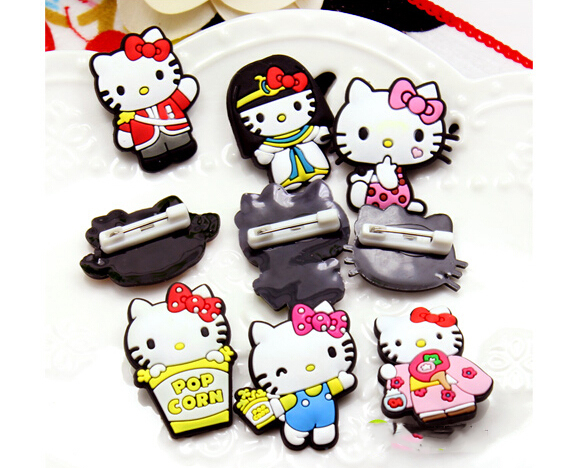 dfb7a0e0f (50 Pcs/Lot) Kawaii Plastic Hello Kitty Clothing Badge Accessories Size 3CM