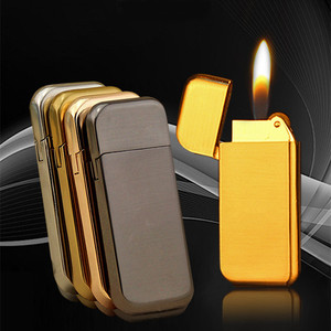 Image 1 - Ultra Thin Compact Jet Butane Lighter Grinding Wheel Lighter Inflated Gas Frosted Mini Lighter Bar Metal NO GAS