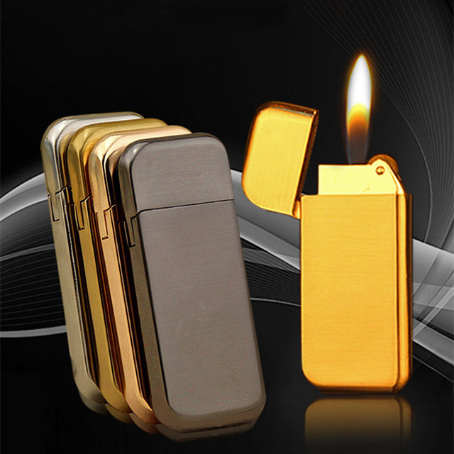 Ultra Thin Compact Jet Butane Lighter Grinding Wheel Lighter Inflated Gas Frosted Mini Lighter Bar Metal NO GAS
