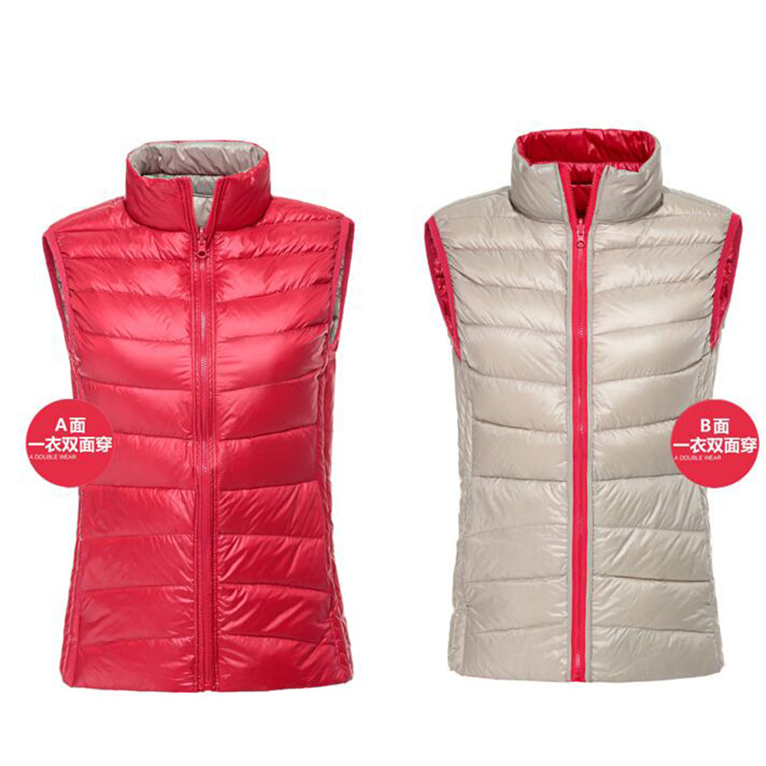 Autumn Winter Women Double   Down   Vest   Coat   New Ultra Light White Duck   Down   Vests Female Waistcoat Jacket Sleeveless Outwear AB636