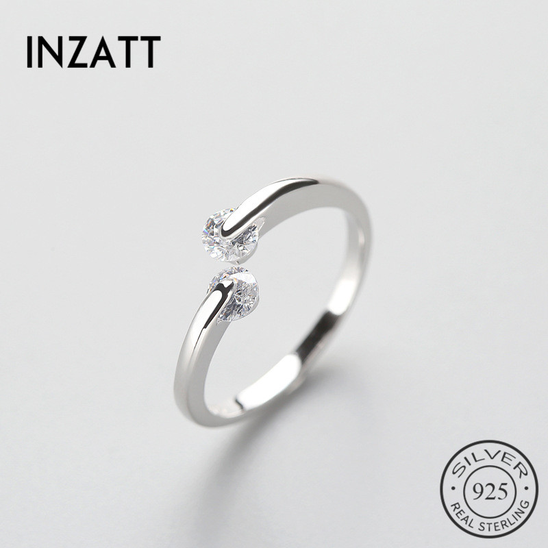 INZATT Real 925 Sterling Silver Minimalist Turn Luck Zircon Ring Fine Jewelry For Women Birthday Party Accessories Gift Bijoux