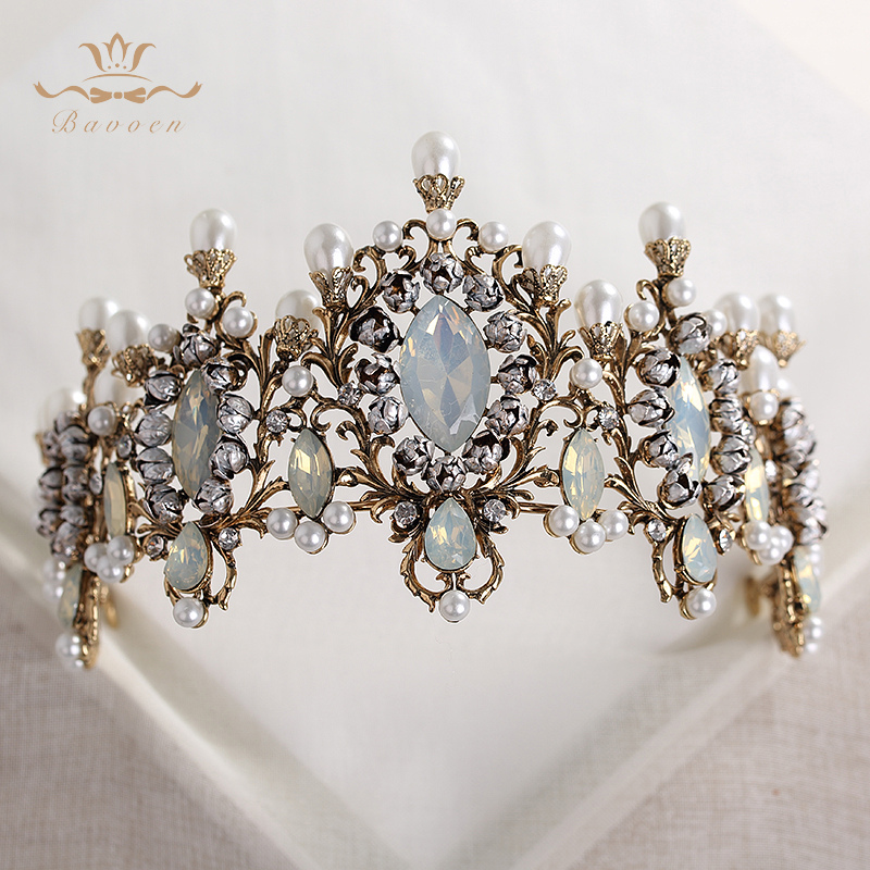 Bavoen Top Quality Elegant Retro Baroque Brides Hairbands Crown Nature Pearls Wedding Tiara Headpieces Prom Hair Accessories