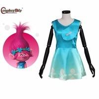 Cosplaydiy Movie Trolls Princess Poppy Dress Summer Clothes Adult Women Halloween Carnival Party Cosplay Costume Custom Made J10