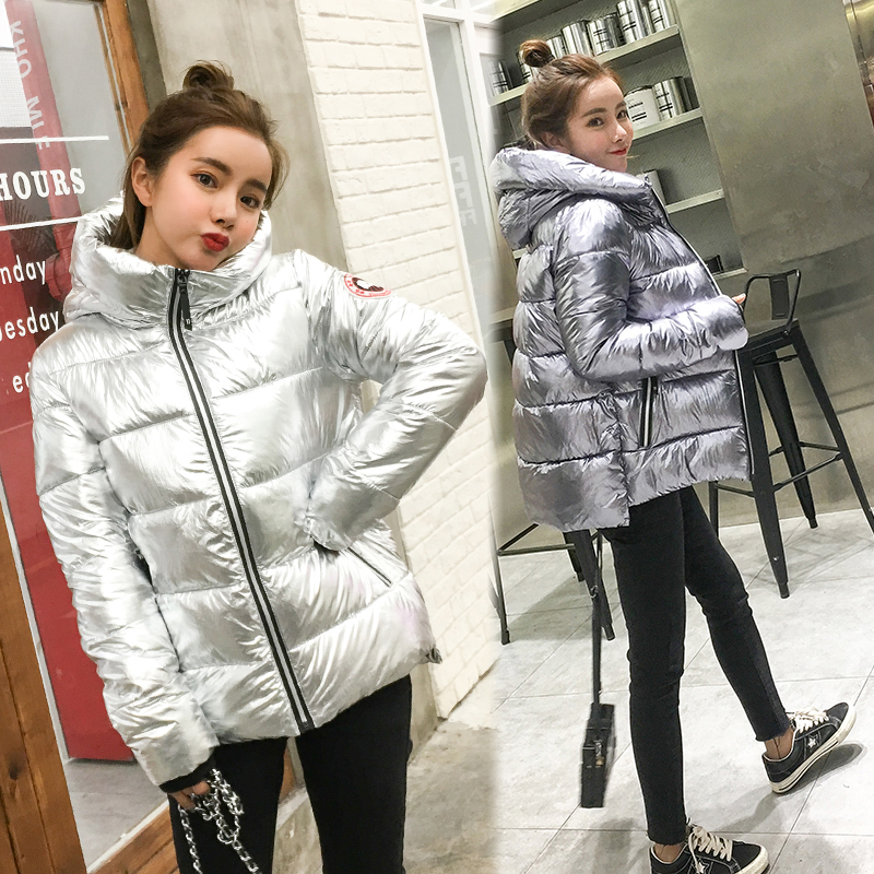 Silver Bright Jacket Coat Women Winter Warm Down Cotton Padded Short Parkas Bread Style new Autumn